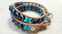 Wrap bracelet with evil eye beads Made by Alexandra Reiner, owner of the etsy shop Chest of Beads How To Make Beads, Evil Eye, Etsy Shop, Bracelets, Shopping, Jewelry, Fashion, Moda, Jewlery