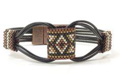 SINGLE WRAP LEATHER Bracelet-Miyuki by CinfulBeadCreations on Etsy