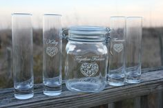 Six Piece Unity Sand Ceremony Set Unity Jar and 5 by EngravingByT, $63.00
