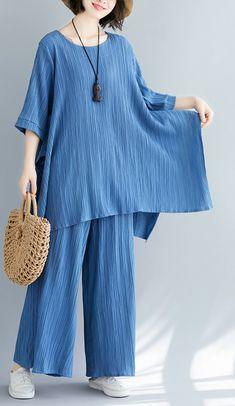 Summer new women's solid color retro blue jacquard cotton sleeves shir – SooLinen Simple Pakistani Dresses, Pakistani Fashion Casual, Muslim Fashion, Hijab Fashion, Stylish Dresses For Girls, Sexy Summer Dresses, Cute Dresses, Linen Dresses, Suit Fashion