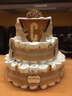 Deer Rustic Theme Diaper Cake