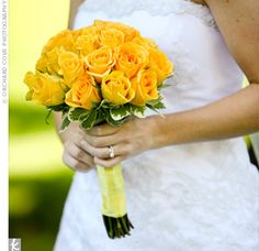 yellow posey bouquet-  Inspiration for mom (bouquets for a friends wedding in yellow and white)