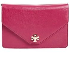 Tory Burch Kira Envelope Clutch Crossbody Raspberry Pink Gold Hardware New $395 | eBay