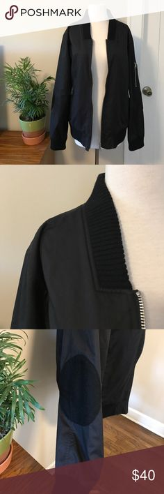 Urban Outfitters Kill City Long Bomber Jacket Amazing quality jacket. Made in the USA. Basically brand new, will def keep you warm! Pockets inside and out. Black wool patches on elbows. Urban Outfitters Jackets & Coats Bomber & Varsity