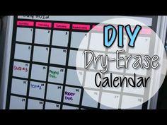 DIY Dry Erase Board Calendar - YouTube