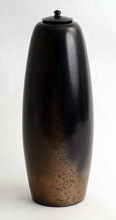 """Pierre Bayle, France  1. Burnished, smoke fired terra sigillata jar, in black and pale brown, 1980s. Height 12 1/2"""" (32 cm) Width 5"""" (13cm)  Incised """"8585 Bayle"""" $3800"""