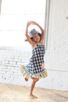 The hat pulls the whole thing together  Houndstooth knit ruffle sundress with grey vintage