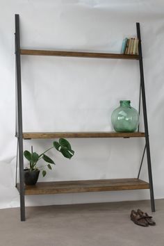 KONK Industrial Ladder Bookcase Oak/Steel van KONKfurniture op Etsy
