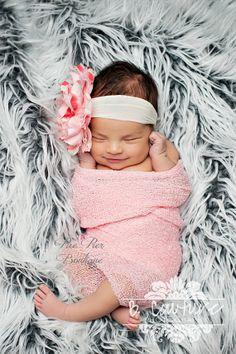 Baby Girl Headband - Pink Vintage Headband - Newborn Headband - Infant Headband - Baby Headband - Toddler Headband - Flower Headband