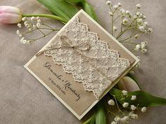 Zaproszenia slubne rustykalne 06/rstKOR/z Custom Wedding Invitations, Rustic Wedding, Stampin Up, Gift Wrapping, Weeding, Diy, Gifts, Game, Cards