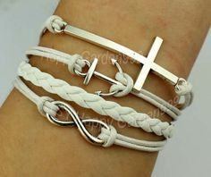 Silvery cross bracelet anchor bracelet infinity by happygarden999, $4.59