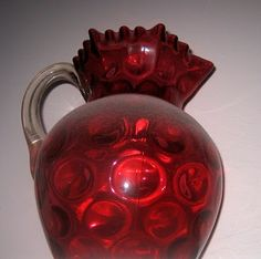 vibrant cranberry glass pitcher