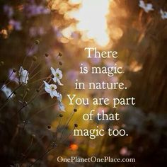 There is magic in nature. You are part of that magic too!