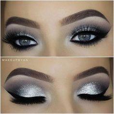 eye make-up tutorial; eye make-up for brown eyes; eye make-up pure; Smoke Eye Makeup, Blue Eye Makeup, Eyeshadow Makeup, Silver Glitter Eye Makeup, Metallic Eyeshadow, Silver Eyeshadow Looks, Makeup Brushes, Black And Silver Eye Makeup, Prom Eye Makeup