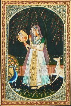Rajput+Princess+(Miniature+Painting+on+Silk+Cloth+-+Unframed)