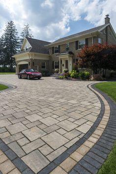 Front Driveway Ideas, Brick Paver Driveway, Modern Driveway, Brick Paving, Driveway Design, Driveway Landscaping, Concrete Patio, Patio Design, Entrance Design