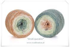 """Irish Garden"" 100% Merino extrafine Farbverlauf: irish grün - lindgrün - creme- beige"