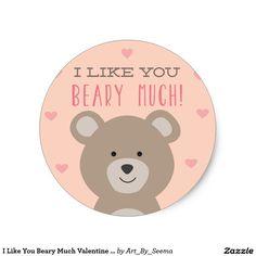 I Like You Beary Much Valentine Sticker