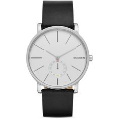 Skagen Hagen Leather Strap Watch, 40mm (£125) ❤ liked on Polyvore featuring jewelry, watches, silver, skagen jewelry, leather strap watches, skagen wrist watch, skagen and silver jewelry