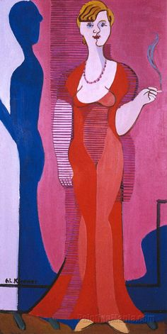 Blond Woman in a Red Dress, Portrait of Elisabeth Hembus by Ernst Ludwig Kirchner