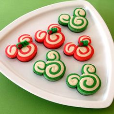 Swirled Mickey Holiday Cookies! Yummy, cute and not terribly complicated! You could change the colors for different holidays or to match birthday party colors :)