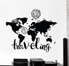 World map wall vinyl decal wall vinyl wall decals and walls wall vinyl decal world map air balloon compass traveling quote decor unique gift z4434 gumiabroncs Images