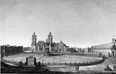 Plaza Mayor en 1847, tras la ocupación de las fuerzas norteamericanas ...
