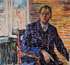 "kundst: ""Edvard Munch (Nor. 1863-1944) Self-Portrait at Professor Jacobson's Hospital (1909) Oil on canvas (110 x 100 cm) """