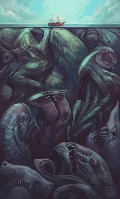 Is Cthulhu in there somewhere? Monster Art, Arte Horror, Horror Art, Fantasy Kunst, Fantasy Art, Illustrations, Illustration Art, Creepy Art, Creepy Pics
