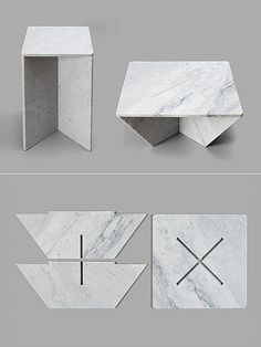 Made of hand-honed marble, the Annex tables use only gravity to join them together. Designed by Joe Doucet, Annex is commissioned by the Shop at The Cooper-Hewitt National Design Museum. Marble Furniture, Small Furniture, Diy Furniture, Furniture Design, Origami Table, Round Marble Table, Cardboard Chair, Honed Marble, Slab Table