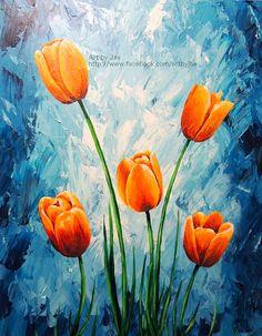 Original Painting Orange Tulips Acrylic Large Wall Art by artbyjae. *done* the 3 tulips on the R.