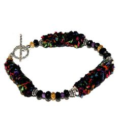 Black Bracelet, Fiber Bracelet, Black Onyx Amethyst and Citrine, Made In The USA by Andreas Jewelry