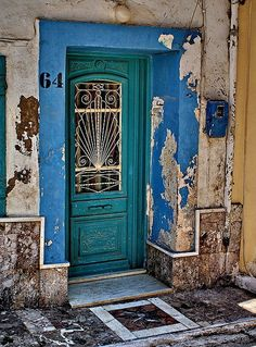 Old door, Chios, Greece. I loved the brightly painted doors in the traditional villages. Hope to go back someday. Cool Doors, Unique Doors, Portal, Door Knockers, Door Knobs, When One Door Closes, Closed Doors, Doorway, Stairways