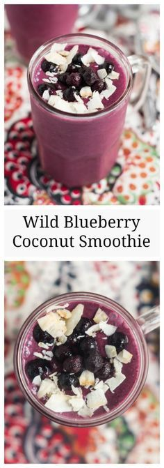 Wild Blueberry Cocon  Wild Blueberry Coconut Smoothie- a refreshing breakfast or snack #ad | www.nutritiouseats.com: