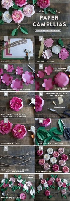 DIY Papier DIY Metallic Paper Kamelien Houses become Homes Article Body: Having bought a house, the Paper Flower Tutorial, Paper Flowers Diy, Handmade Flowers, Flower Crafts, Diy Paper, Fabric Flowers, Paper Art, Paper Crafts, Flower Diy