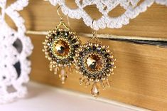 """Bead woven earrings """"Vintage"""". Beadwoven earrings with Swarovski crystal and…"""