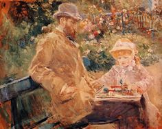 Berthe Morisot - Eugene Manet with his daughter at Bougival (1881)