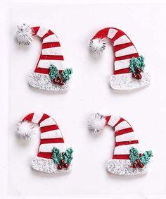 Mini Stick-on Felt Christmas Hats / Elf Hats - Christmas Embellishments (4pk) | eBay