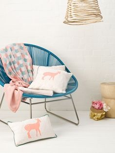 #Knitted #Blanket #pink | Goo Collection, pink deer pillows
