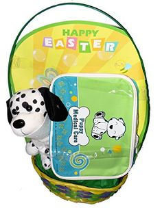 Puppy Medical Care Play Set Easter Basket with Plush Puppy and Vinyl Zippered Medical Bag Megatoys