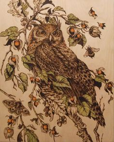 40x50 cm -  pyrography by Lesina Elena (+ watercolor)
