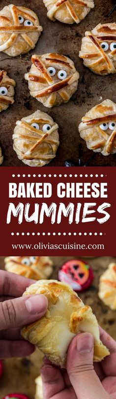 Baked Cheese Mummies | www.oliviascuisine.com | These fun puff pastry wrapped cheese mummies are not only cheesy-licious but very easy to make! They are sure to be the hit of your Halloween party! (Recipe and food photography by @oliviascuisine.) #Sponsored