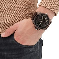 Diesel dz7246 big daddy chronograph brown leather men watch.  Built to bring forward thinking and classic materials together seamlessly, The Diesel Watch DZ7246 is a versatile pick for everyday wear. Built to keep your personal empire running smoothly and stylishly, it features a stainless steel case and bezel that are set off by a black round face, this edgy yet sophisticated timepiece utilizes reliable quartz movement.