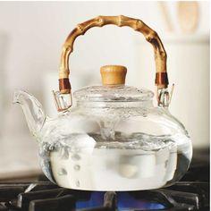 Registry ideas: Buddha Belly Tea Kettle - Glass teapot with bamboo handle Glass Teapot, Cast Iron Cookware, In Vino Veritas, Tea Accessories, Kitchen Items, Kitchen Gadgets, Kitchen Ware, Kitchen Things, Ubud