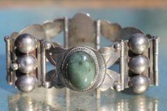 Vintage Mexican Sterling Silver Bracelet Green Jade ORB Links 1930'S | eBay