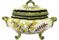 """House of Charm Antiques, Quimper Faience Tureen - Henriot Quimper soft-paste porcelain tureen from Brittany in an unusual pattern. Mark dates it between 1968 and 1984. 17"""" L x 9"""" W x 10"""" H  479 - 805"""