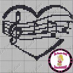 Su Ponto Cruz Cross Stitch Music, Cross Stitch Heart, Simple Cross Stitch, Cross Stitching, Cross Stitch Embroidery, Embroidery Patterns, Everything Cross Stitch, Easy Cross Stitch Patterns, Knitting Charts