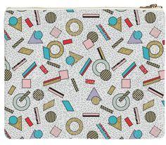 80s Memphis Milan inspired design in Pastel, seasonofvictory PAOM Print All Over Me neoprene bag clutch