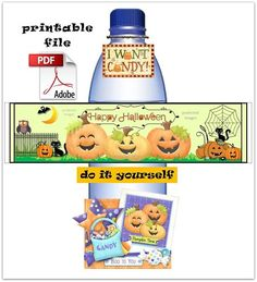 INFORMATION: THEME : HALLOWEEN - CUTE!  - One HIGH RESOLUTION PDF File - All files are formatted to 8.5 x 11 paper. - There are 5 labels to a sheet.  - This is a PRINTABLE file, no item will be...@ artfire
