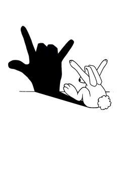 Rabbit Love Hand Shadow Art Print